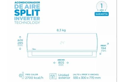 Midea Inverter 2709 KCAL/H   - Aire acondiconado split inverter calefacción climatización radiadores calderas carrier midea